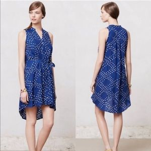 Anthropologie blue sleeveless dress with white dot